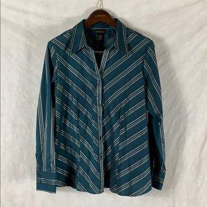 Lane Bryant Blue Button Down Shirt Womens 14/16